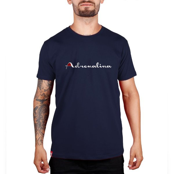 Camiseta Adrenalina Azul Marinho - Silk Branco/Vermelho