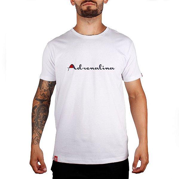 Camiseta Adrenalina Branco - Silk Branco/Vermelho