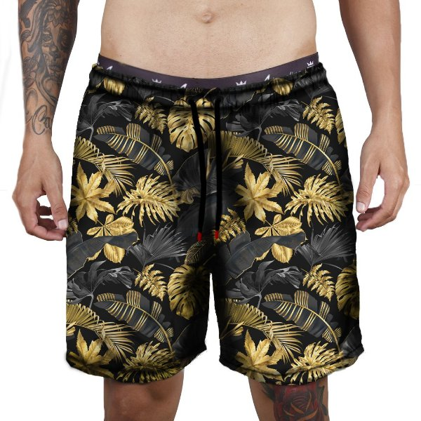 Short Praia Tactel Adrenalina - Floral Yellow