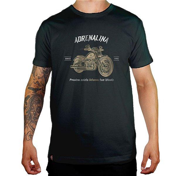 Camiseta Adrenalina Moto Fredoom - Verde Musgo