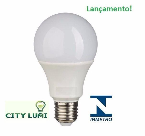 LÂMPADA LED AUTODIMERIZÁVEL BULBO A60 9W E-27 3000K BRANCO QUENTE CITY LUMI