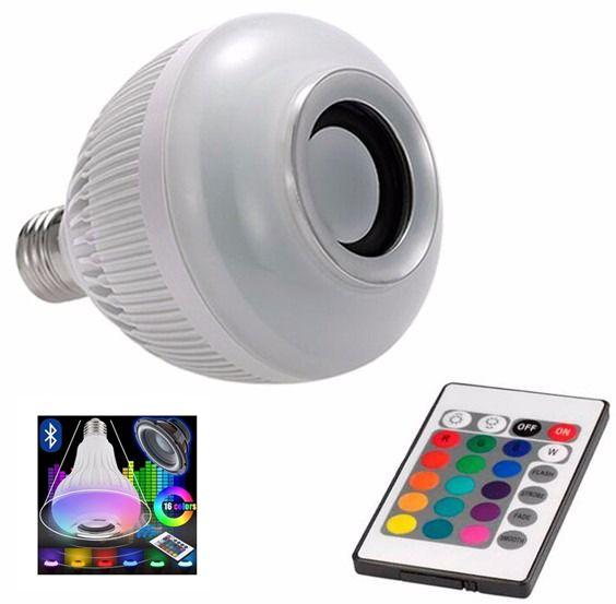 LÂMPADA LED POWER 6W RGB CAIXA SOM BLUETOOTH COM CONTROLE REMOTO.