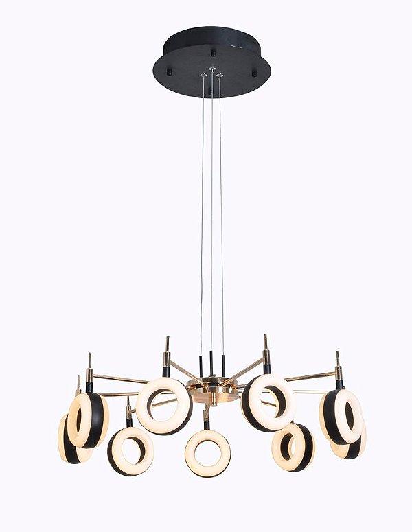 Pendente luminária Circular alumínio Dourado com preto em Led 72W 3000k Bivolt