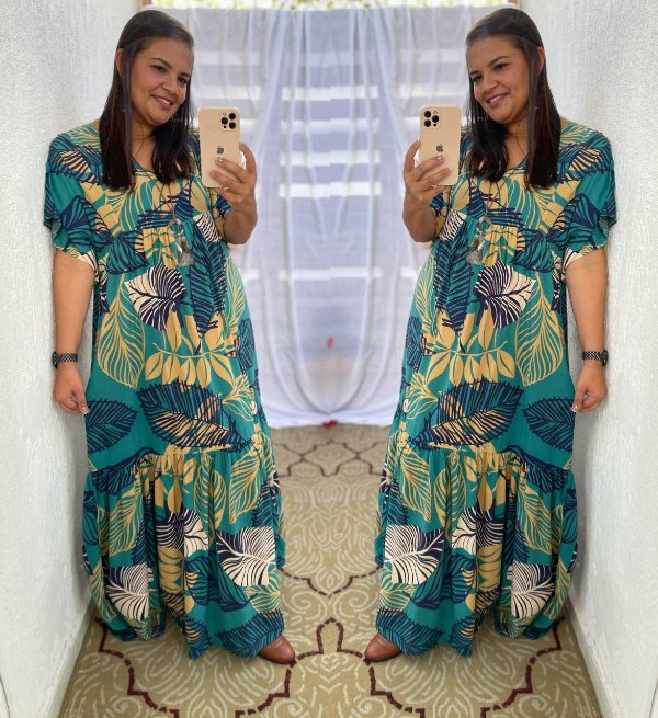 Vestido Eloá longo azul/verde  ( Modelagem Ampla que veste do 42 ao 50 )