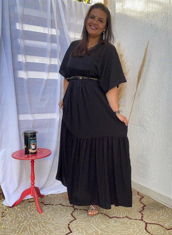 Vestido Eloá longo Preto ( Modelagem Ampla que veste do 44 ao 50 )