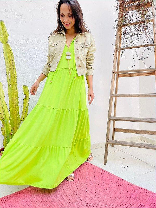 Vestido Fernanda Verde      (Modelagem Ampla que veste do P ao GG) Cod. 5081