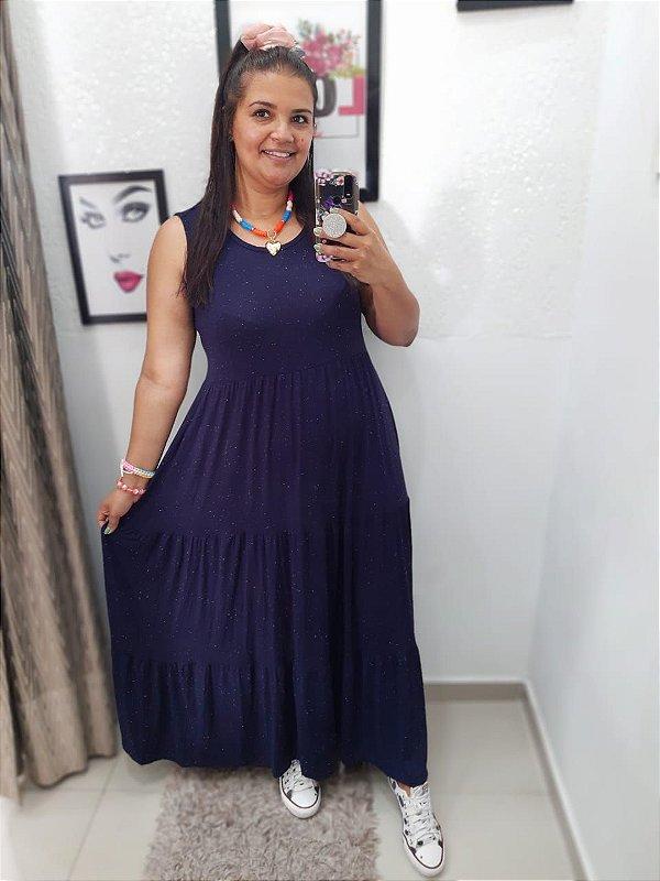 Vestido Fábia Azul  ( Tamanho único que veste do 36 ao 48 )