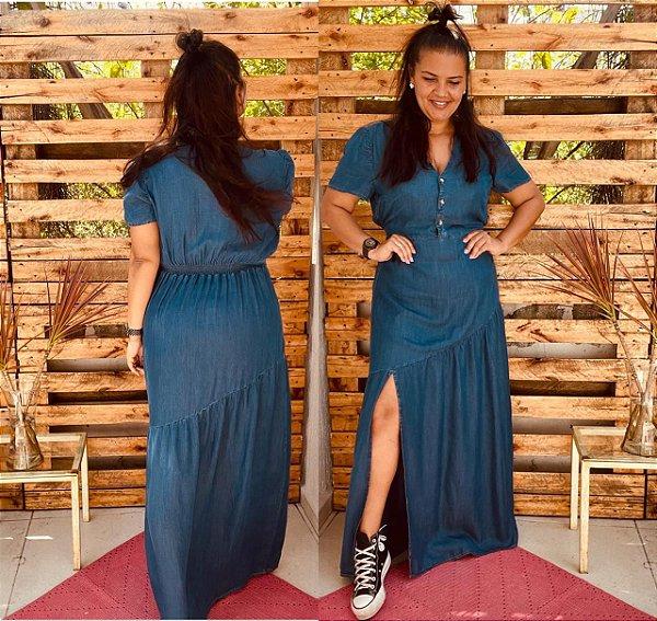 Vestido Abigail longo com decote V tecido Tencel ( tecido que imita o jeans)l