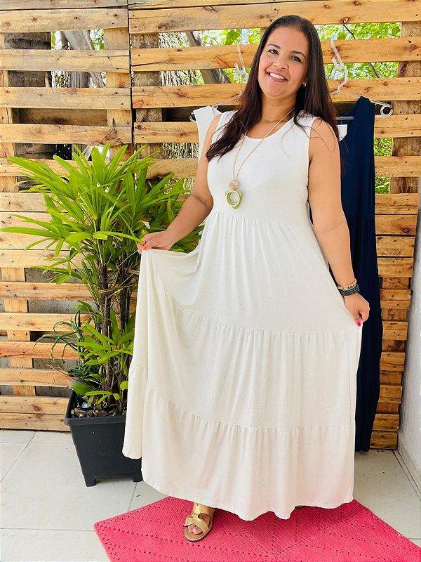 VESTIDO FÁBIA ( Tamanho único que veste do 36 ao 48 ) Cor off