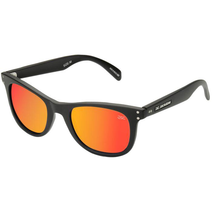 Óculos de Sol Jackdaw 18 Preto Fosco com Lentes Vermelho Espelhado