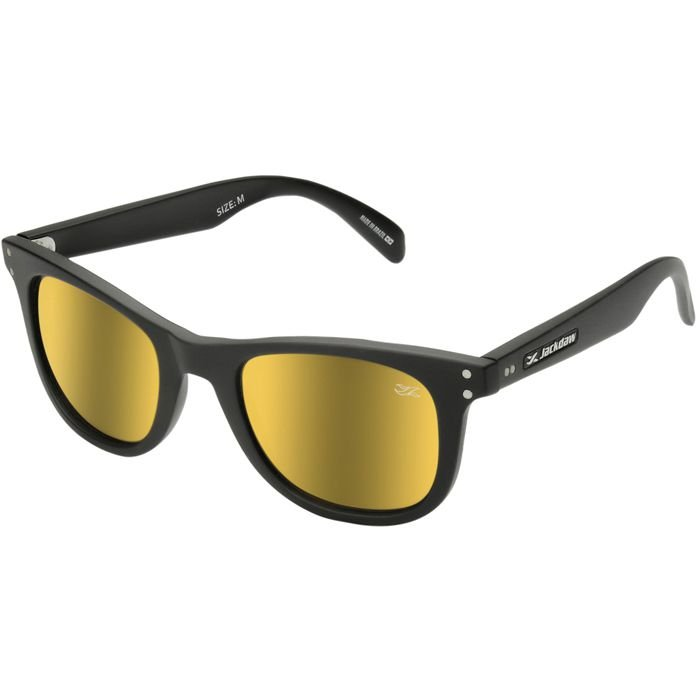 Óculos de Sol Jackdaw 21 Preto Fosco com Lentes Dourado Espelhado