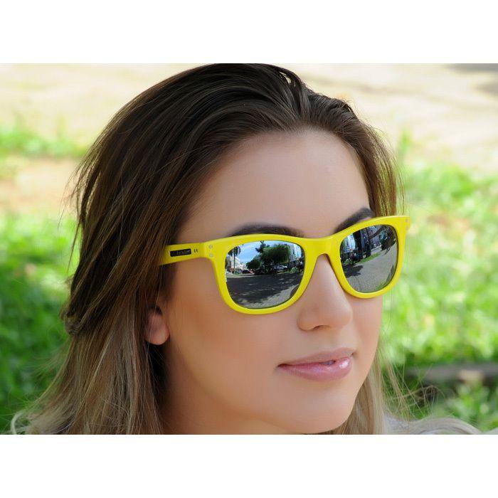 Óculos de Sol Jackdaw 30 Amarelo Brilho com Lentes Cinza Semi-Espelhado