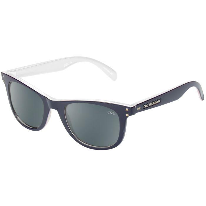 Óculos de Sol Jackdaw 38 Azul Marinho e Branco Brilho com Lentes Cinza