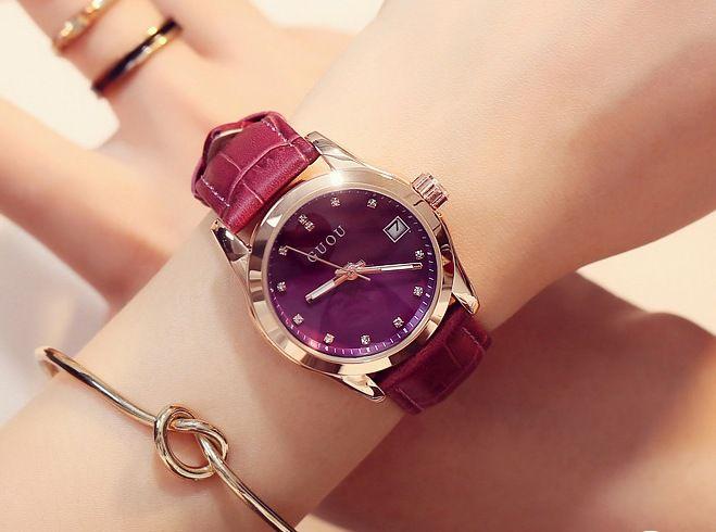 Relógio Feminino Guou Couro