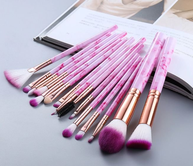 Kit com 15 Pinceis para Maquiagem FLP