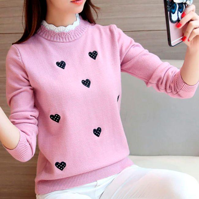 Suéter Feminino Gola Alta Coração