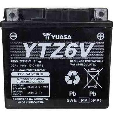 Bateria Yuasa YTZ6V |12V - 5Ah| Honda CG150 Titan ES/ESD, NX150 Bros ES/ESD, CG125 ES/ESD, XRE300, Yamaha YBR125 Factor