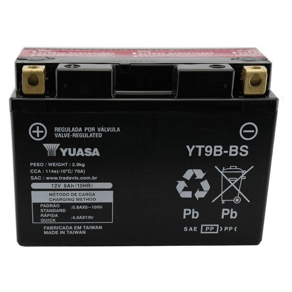 Bateria Yuasa YT9B-BS |12V - 8Ah| YZF-R6, S, SC, SV (96/01) / XT 660X (04/11), MT-03 (06/12)