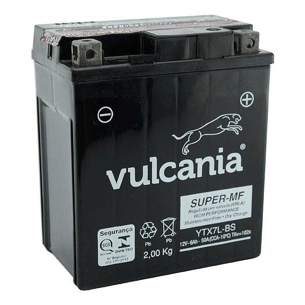 Bateria Vulcania YTX7L-BS |12V - 6Ah| CBX 250 Twister, XR 250 Tornado, Falcon NX4, CBX 300, CB 600 Hornet, CG 150 Titan ES/ESD, Lead Scooter, Fazer 250, Kazinski 150 K