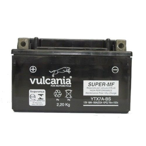 Bateria Vulcania YTX7A-BS, 12V, 6Ah, Suzuki AN125 Burgman, Daelim NS125, Kymco 125 People