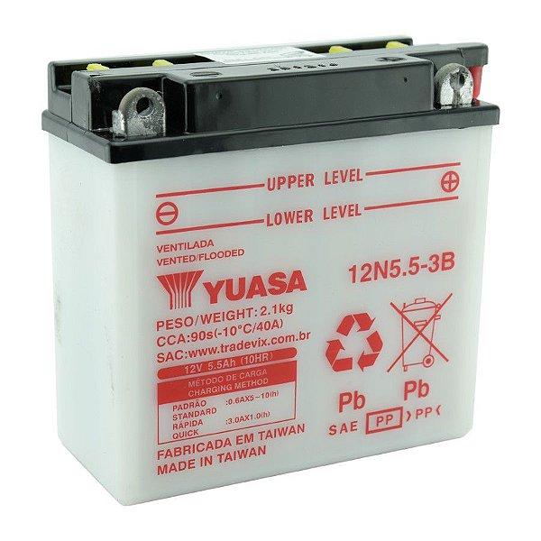 Bateria Yuasa 12N5.5-3B |12V - 5,5Ah| YBR 125 | RD 125 | RDZ 125 | RD 135 | RDZ 135 | RD350