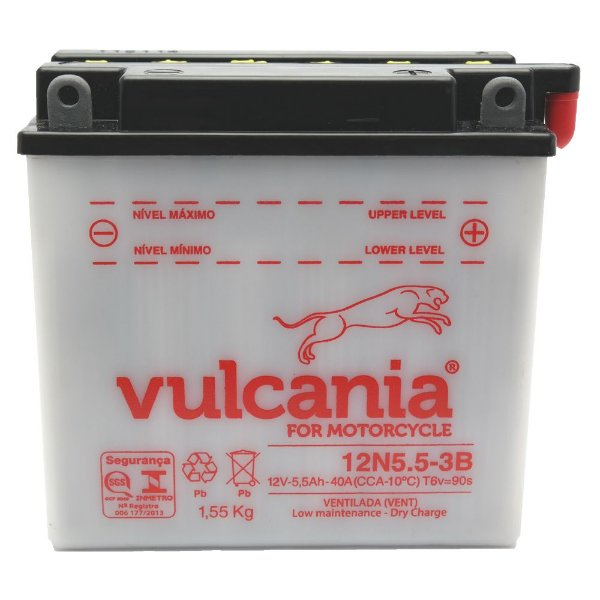 Bateria Vulcania 12N5.5-3B |12V - 5,5Ah| NEO 115 / YBR 125 E/ED/K (00-...) / RD 135 (87-94) / RDZ125 (82-87) / RD 350LC, LCF (80-84) / RD500LC (84-85)