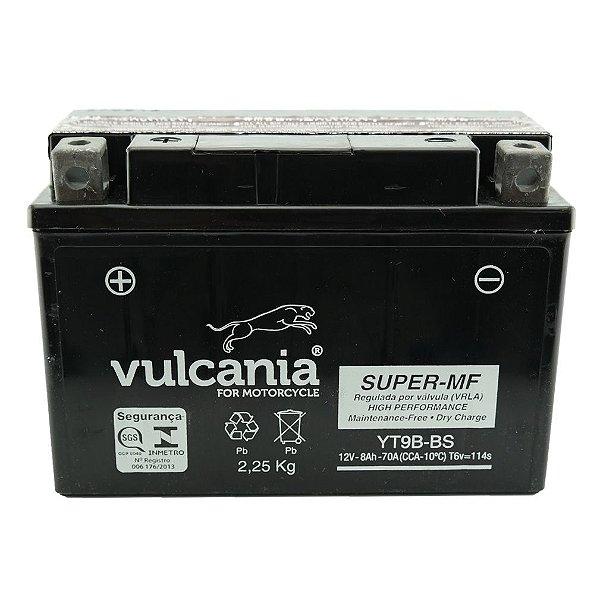 Bateria Vulcania YT9B-BS |12V - 8Ah| YZF-R6, S, SC, SV (96/01) / XT660, X (04/11), MT-03 (06/12)