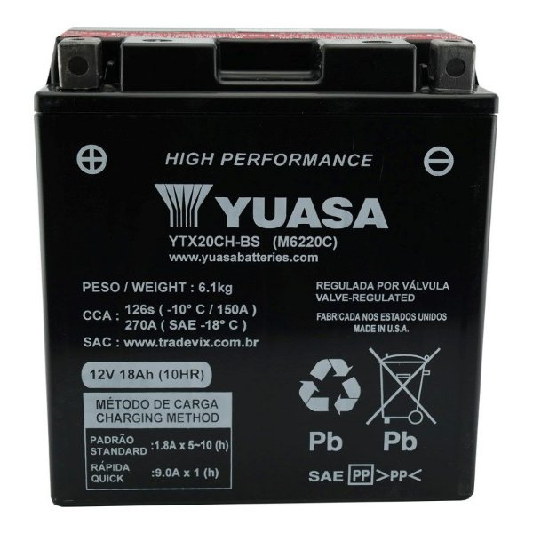 Bateria Yuasa YTX20CH-BS XL1000 Varadero Vulcan 1500 Boulevard 1500 Marauder 1600