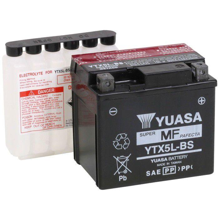 Bateria Yuasa YTX5L-BS 4Ah Pop100, Biz125 ks, CG125 Fan Titan Cargo, NXR125 Bros