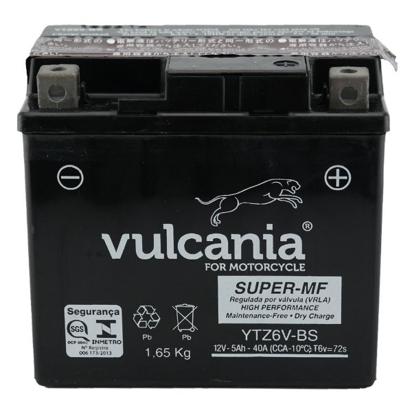 Bateria Vulcania YTZ6V 5Ah Titan 150 Bros Fan YBR 125 Factor