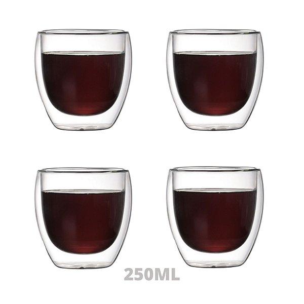 Conjunto 4 Copos P/ Café Parede Dupla De Vidro 250ml Borossilicato