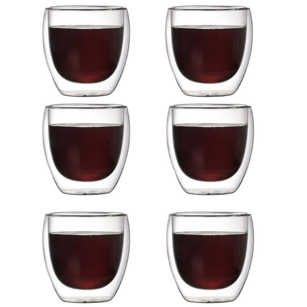 Conjunto 6 Copos P/ Café Parede Dupla De Vidro 250ml Borossilicato