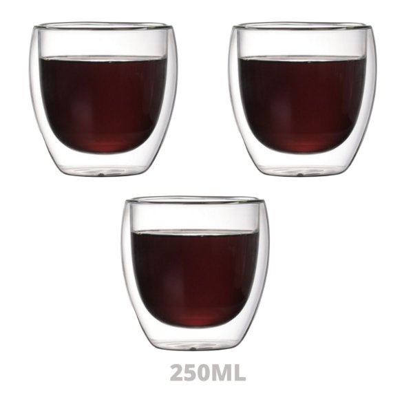 Conjunto 3 Copos P/ Café Dupla Parede De Vidro 250ml Borossilicato