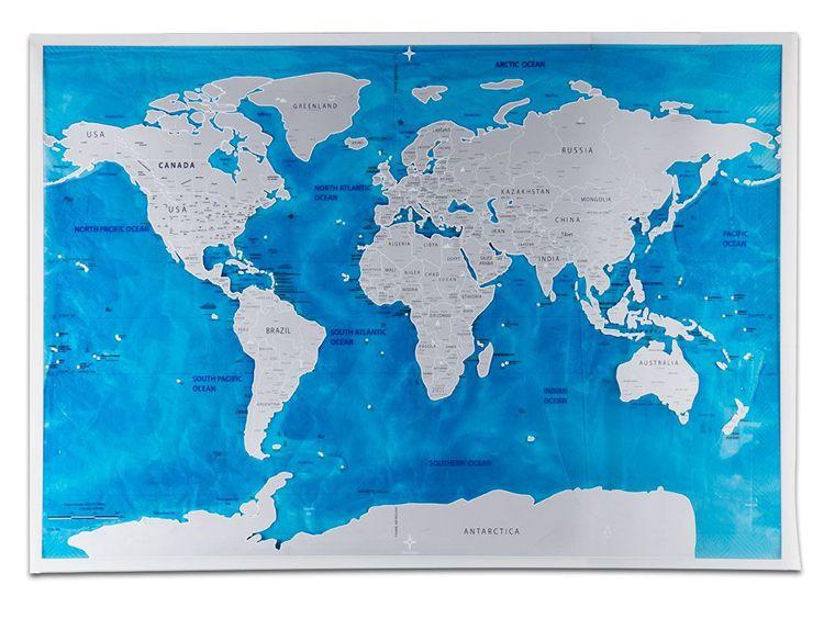 Mapa do Mundo de Raspar Edição Oceano