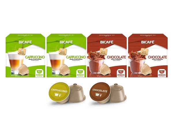 Kit 64 Cápsulas Para Máquinas Dolce Gusto* Chocolate e Cappuccino