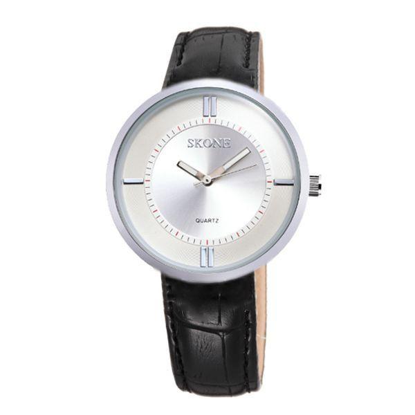 Relógio Feminino Skone Analógico 9100 Preto e Prata