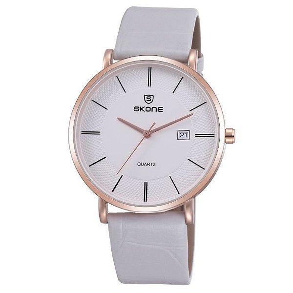 Relógio Feminino Skone Analógico Casual 9307BG Branco e Dourado