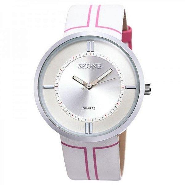 Relógio Feminino Skone Analógico Casual 9100 Branco e Rosa