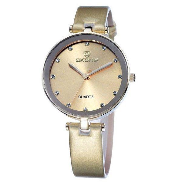 Relógio Feminino Skone Analógico Casual 9159 Dourado