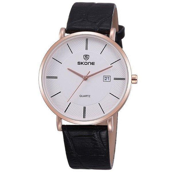 Relógio Feminino Skone Analógico 9307BG - Preto e Dourado