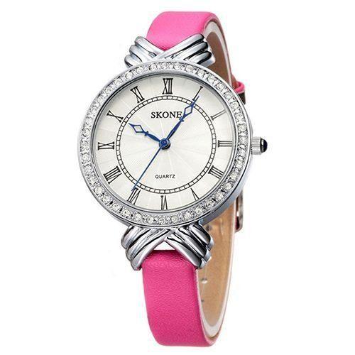Relógio Feminino Skone Analógico Casual 9092L Rosa