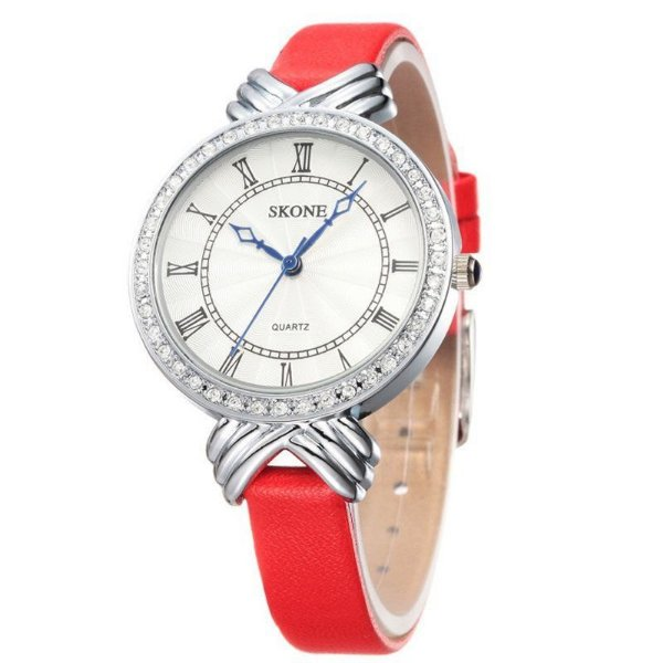 Relógio Feminino Skone Analógico Casual 9092 Vermelho