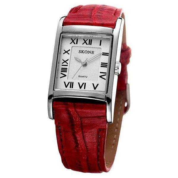Relógio Feminino Skone Analógico Casual 9107 Vermelho