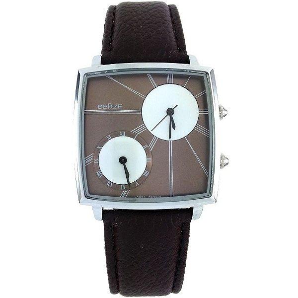 Relógio Analógico Social Berze BT155M Marrom e Cobre