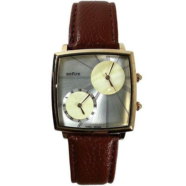 Relógio Analógico Social Berze BT155M Marrom e Prata