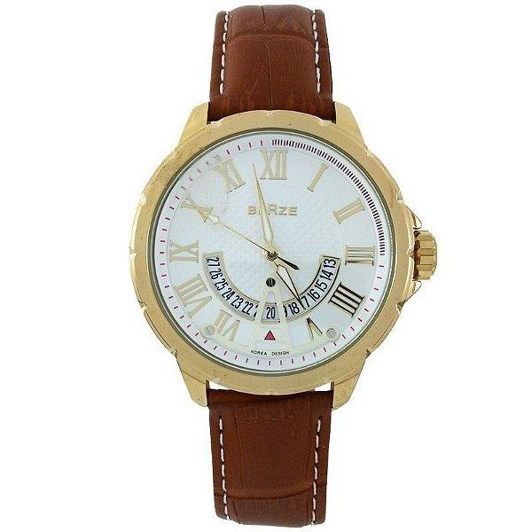Relógio Analógico Social Berze BT164 Marrom e Branco