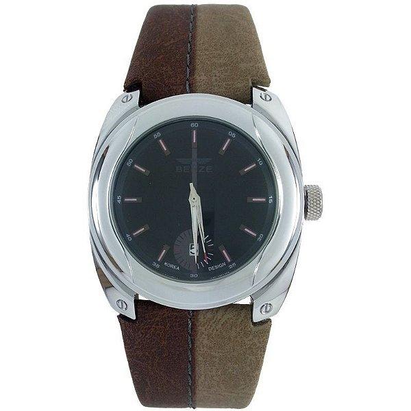 Relógio Analógico Social Berze BT169M Marrom e Caqui