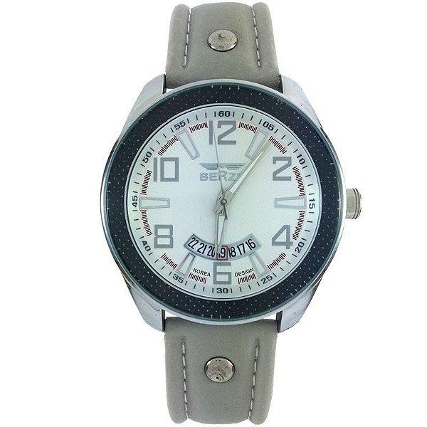 Relógio Masculino Analógico Social Berze BT173 Cinza e Branco
