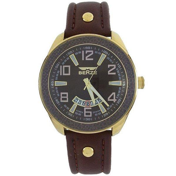 Relógio Analógico Social Berze BT173 Marrom e Dourado