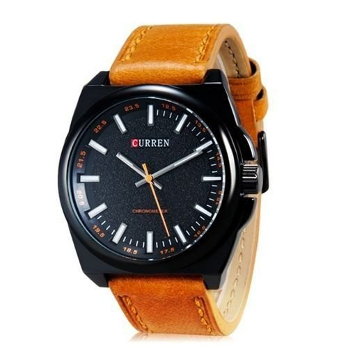 Relógio Curren Analógico 8168 Marrom Claro e Preto